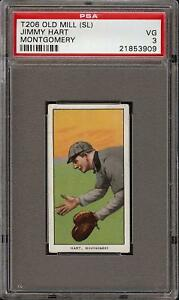 Rare 1909-11 T206 Jimmy Hart Old Mill Back Southern League Montgomery PSA 3 VG