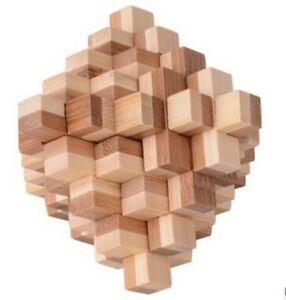 Details about IQ Bamboo Interlocking Burr Puzzle Brain Teaser Game for  Adults Challenging Play