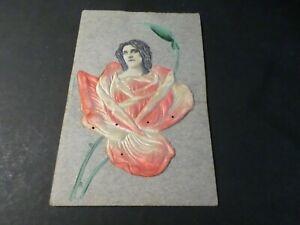 CPA-GAUFFREE-theme-FLEURS-FEMME-VF-POSTCARD-en-RELIEF-voyagee-1906-GUADELOUPE