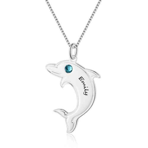 Personalized Dolphin Pendant Birthstone Necklace Name Necklaces Gift for Her