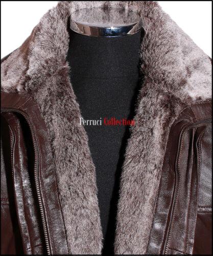 Jackson Braune Herren Smart Abnehmbar Pelz Fleece Winter Jacke Echtes Leder