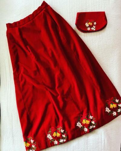 Vintage Red Velvet Embroidered Christmas Maxi Skir