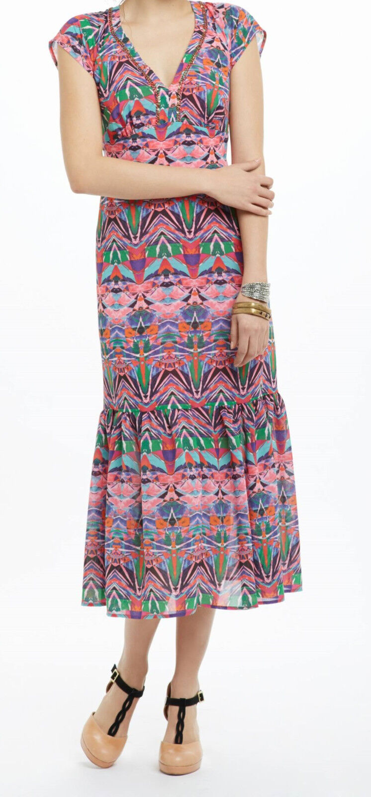 Vanessa Virginia Mural Maxi Dress Dress Dress Size 8 NWT Red Motif NW ANTHROPOLOGIE Tag 538f83