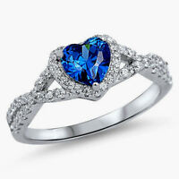 Usa Seller Infinity Heart Ring Sterling Silver 925 Jewelry Blue Sapphire Size 12