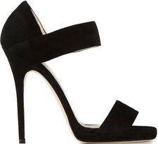 BNIB Jimmy Choo Alana black suede platform sandals in size 37.5