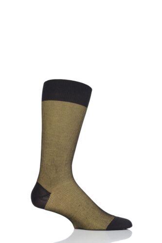 Mens 1 Pair Pantherella Santos Shadow Rib Cotton Lisle Socks