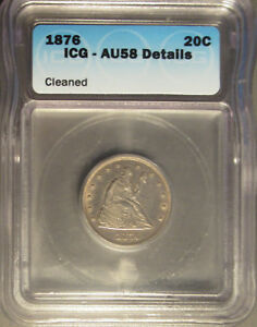 1876-Silver-Seated-Liberty-Twenty-Cent-20C-ICG-AU-58-Details