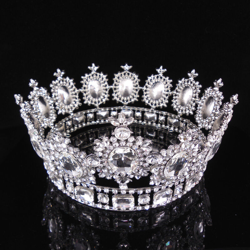 """6.7"""" Wide Large Silver White Crystal Queen Crown Wedding Prom Party Pageant"""