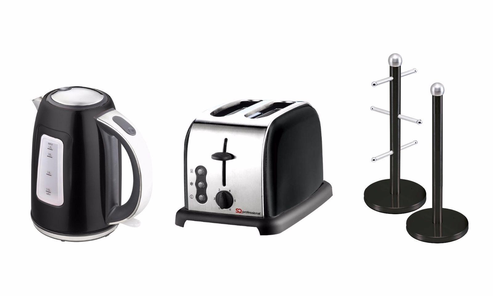 SQ Pro. Dainty Grille-pain, Mug Tree, Cuisine Porte-rouleau et Bouilloire 1.7 L Onyx Noir