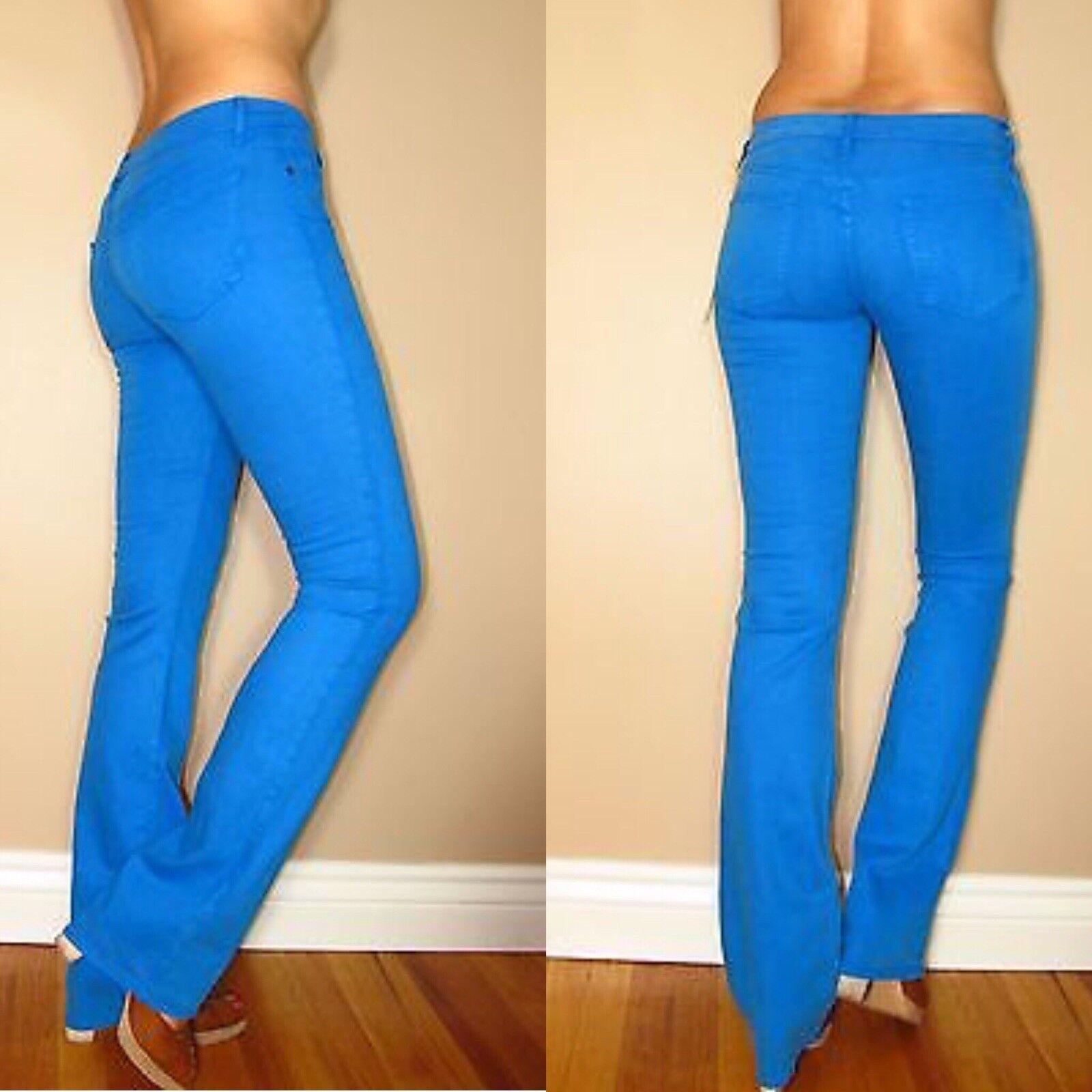 165 Rich & Skinny Bright Blau Sarcelle Coul Slim Stiefel STRAIGHT jeans X-Long 26 Neuf avec étiquettes