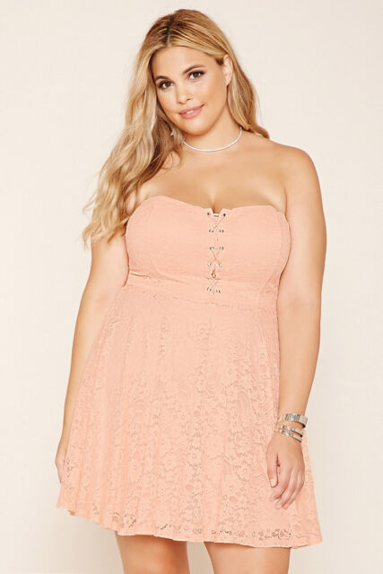 Forever 21 Plus Pink LaceUp Strapless Lace Floral Party Dress Xl/1X/2X