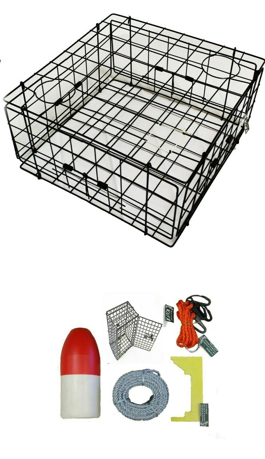 KUFA 24x24x12 Vinyl Coated Crab Trap & All Included Accessory kit S60CEQ3
