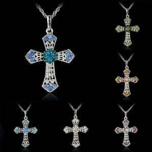 Vintage-Silver-Cross-Rhinestone-Crystal-Pendant-Necklace-Womens-Sweater-Chain