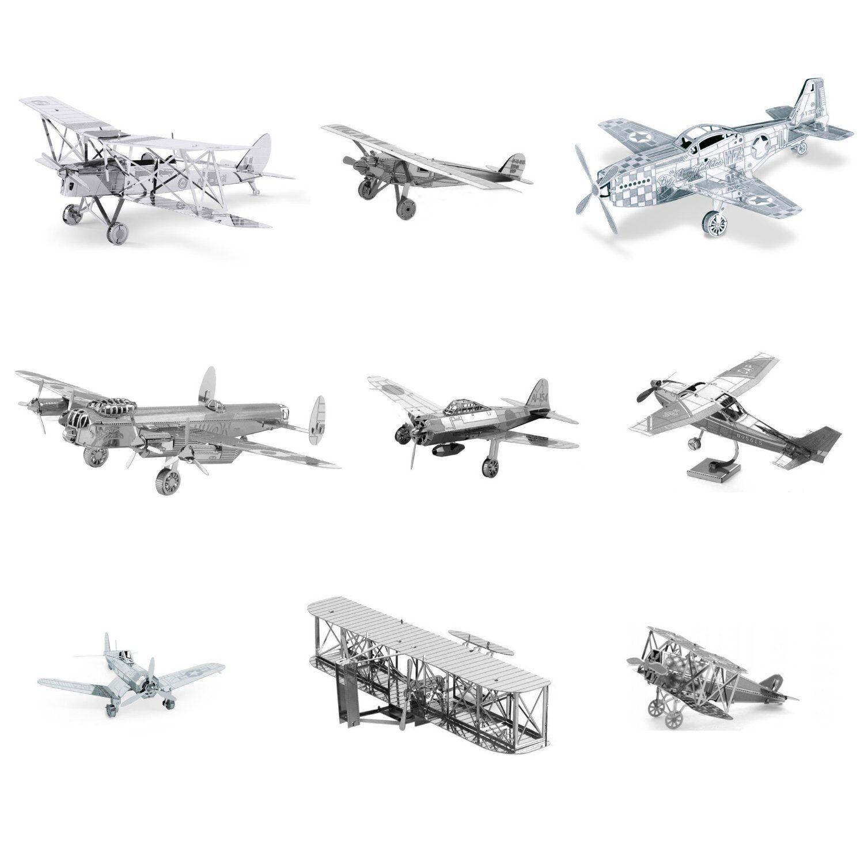 Set of 9 Metal Earth Planes Model Model Kits (P-51, F4U, Wright Bredhers, Cessna etc.)
