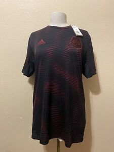 New-Men-039-s-Adidas-Mexico-Pre-Match-Soccer-Jersey-Black-Red-DU0058-Sz-M-60