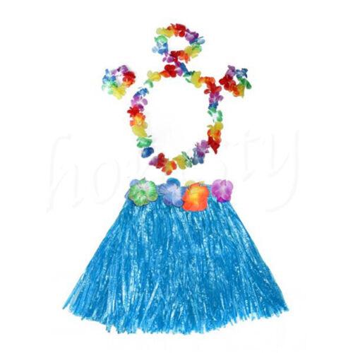 Kids Hawaiian Grass Hula Lei Skirt Flower Wristband Garland Fancy Costume