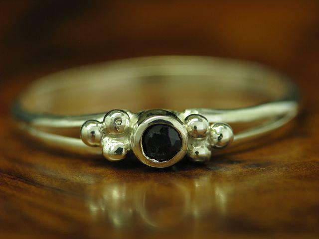 925 STERLING silver RING MIT SAPHIR BESATZ   ECHTsilver   0,9g   RG 57