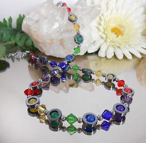 Halskette-Collier-HAMATIT-Ringe-JADE-bunt-GLAS-Rhomben-mehrfarbig-Edelstahl