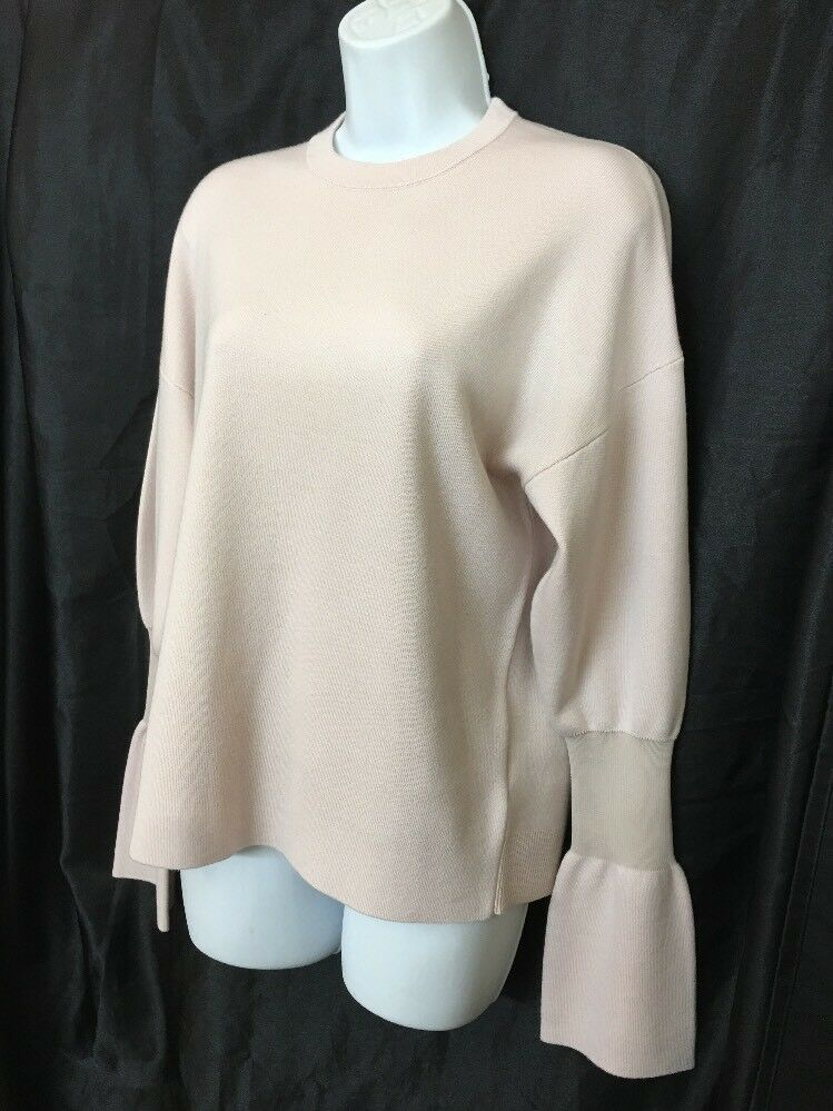 Tibi Sweater Sweater Sweater Pale Pink Wool Long Sleeve With Bell Cuff Size Extra Small 06ace3