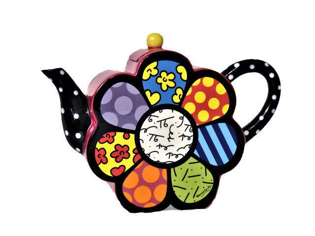 Romero Britto Large Teapot Coffeepot Flower 57.5oz Tea Pot - 20048 E