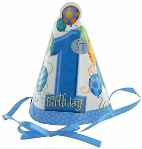 1st-Birthday-034-Blue-Balloons-034-Party-Hats-with-Ribbon-Tie