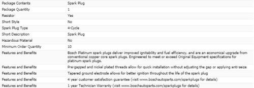 6 pcs Bosch Platinum Spark Plugs For 2009-2019 FORD FLEX V6-3.5L