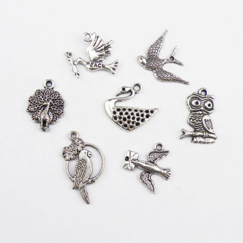 7Pcs Tibetan Silver Birds Charms Pendants Jewelry Making DIY Findings F305