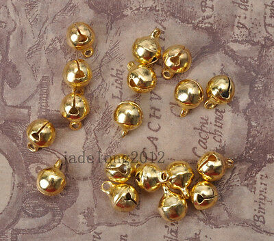50pcs Gold plated jingle copper Bells Pendant charms beads NH717