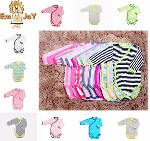 Baby Girls Boys Kimono Long Sleeved Bodysuit Wrap Around Vests 0 24