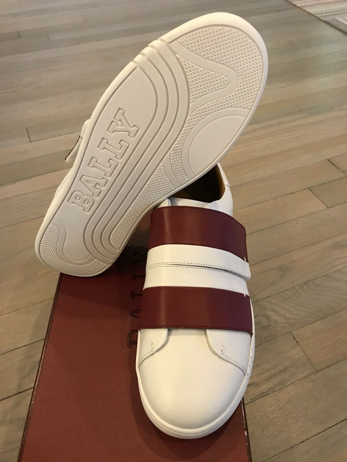 550$ Bally Willet White and and and Red Leather Sneakers size US 9.5 Made in Italy 1f97f1