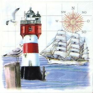 4x-Paper-Napkins-Lighthouse-and-Compass-for-Decoupage-Decopatch-Craft