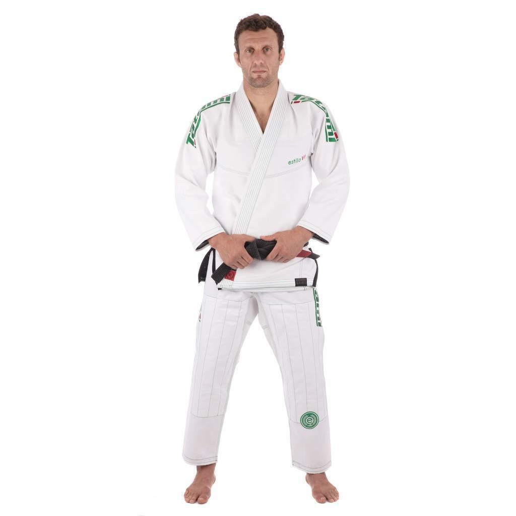 Tatami Bjj Gi Estilo 6.0 Bianco & Smeraldo Jiu Jitsu Brasiliano Karategi Kimono