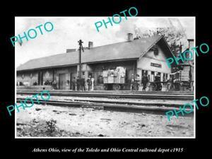 OLD-LARGE-HISTORIC-PHOTO-OF-ATHENS-OHIO-THE-T-amp-OC-RAILROAD-DEPOT-STATION-c1915