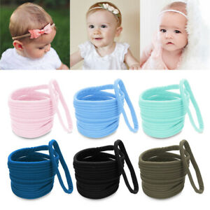 Fashion-10Pcs-lot-Girls-Hair-Bows-Nylon-Stretchy-Thin-Soft-Elastic-Band-Hairband