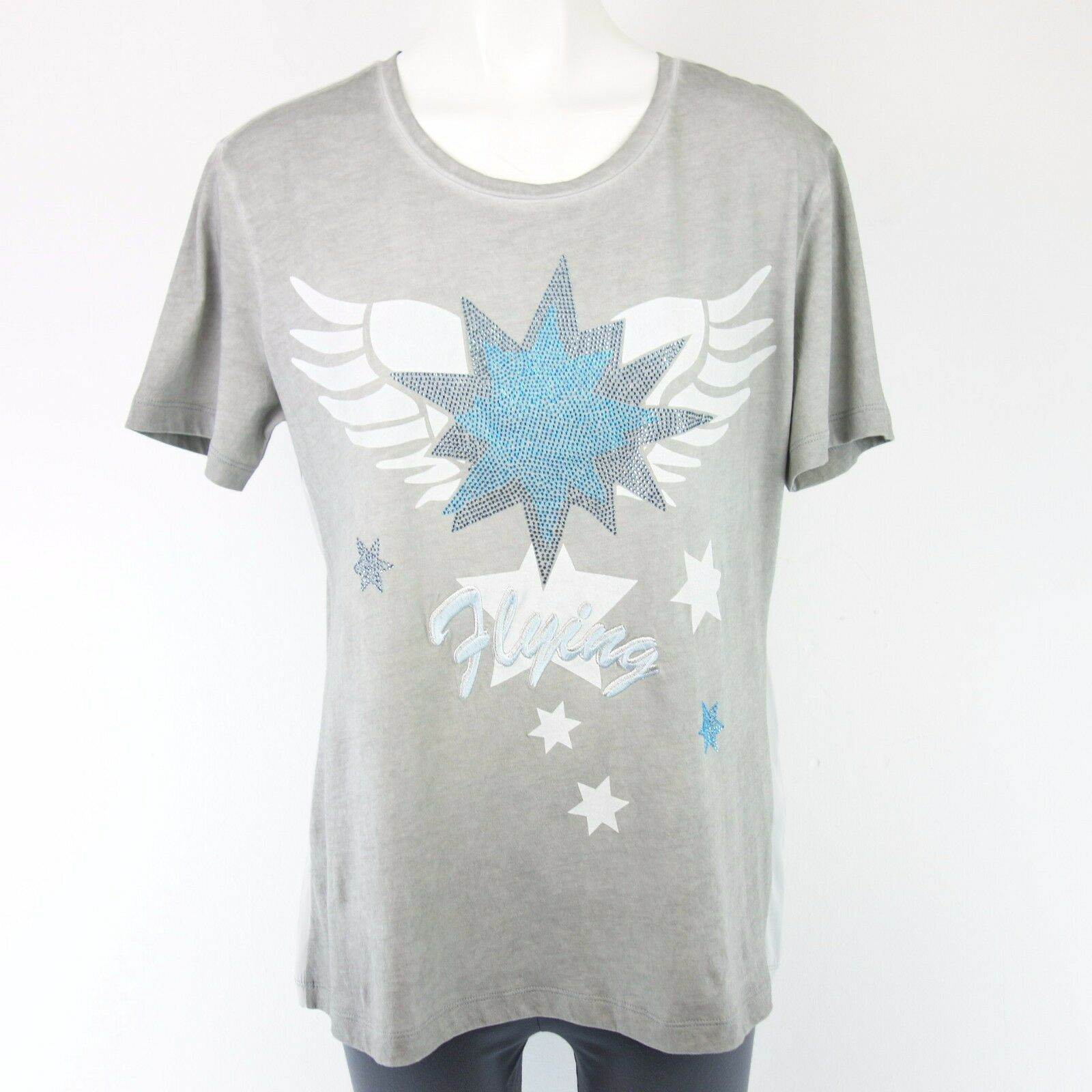 NICE CONNECTION Damem Shirt Gr 40 Grau Straß Stern Baumwolle Seide NP 159 NEU