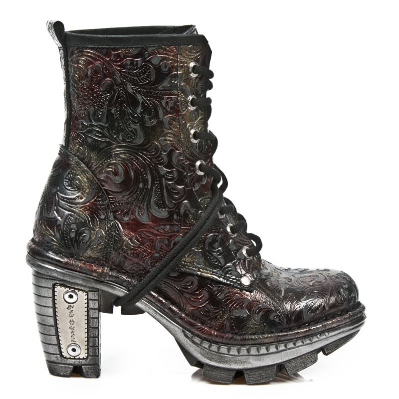 NewRock NEW ROCK NEOTR008-S13 VINTAGE ROCK FLOWER BLACK RED GOTHIC ROCK VINTAGE PUNK BOOTS 53a847