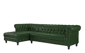Image Is Loading Classic Tufted Leather Chesterfield L Shape Sectional Sofa