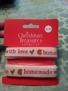 """Kitchen, Dining & Bar Homemade With Love Decorative Ribbon By Christmas Treasures 12' X 5/8"""""""