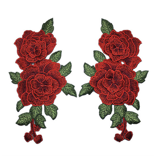 Embroidery Rose Flower Sew On Patch Badge Bag Jeans Dress Applique Craft FT