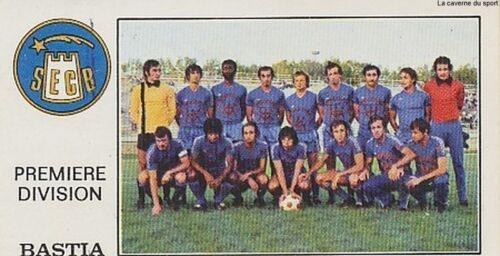 N°032 TEAM EQUIPE SEC.BASTIA VIGNETTE PANINI FOOTBALL 77 STICKER 1977