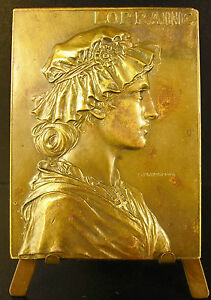 Medalla-Lorraine-perfil-mujer-en-tocado-tradicional-1900-Prud-039-hombre-Medal