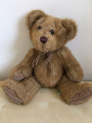A /& B Novelty Plush Bear 1982 Stuffed 9 Teddy Colorful Feet 80s Pink Ribbon
