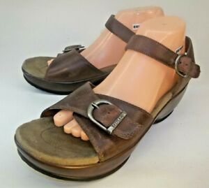 Eastland Womens Sandals Wedge Us 10 M Brown Leather Ankle
