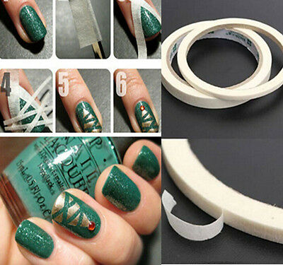 17m White Stripe Tape Roll Nail Art Edge Gudie Tool Tips Sticker 0.5cm / 1.2cm