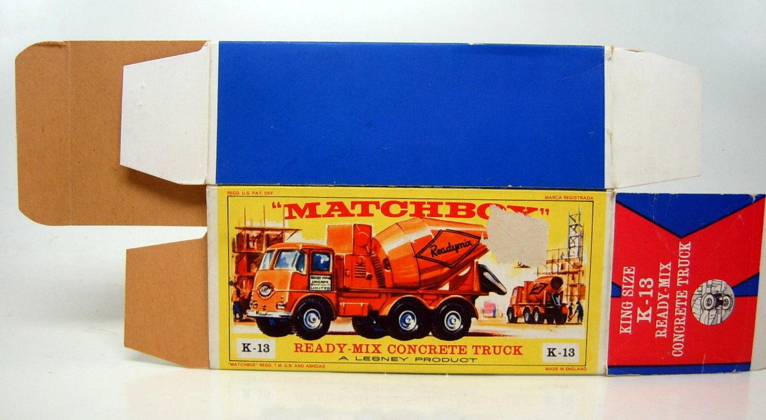 Matchbox KingGröße K-13A Readymix Concrete Truck leere  E1  Box