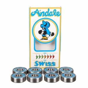 Andale-Skateboard-Bearings-SWISS-Blue-Speed-Model-Set-of-8