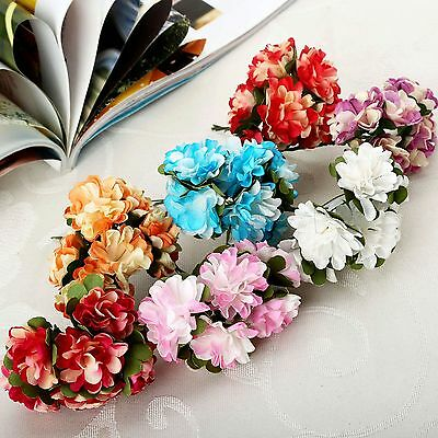 Mini Artificial Paper Flowers Bouquet Wedding Party Decoration DIY 12pcs/144pcs