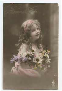 c 1910 Children Child CUTE LITTLE GIRL Curly hair photo postcard