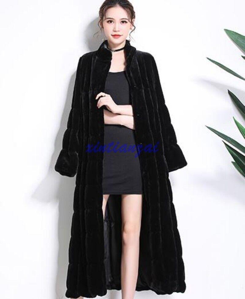 Women's Full Length Mink Fur Stand Collar Parka Fur Coat Slim Long Sleeve Warm