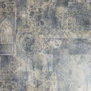 Wallpaper Rustic Blue Faux Vintage Old Rug Carpet Textured Moroccan Boho Tile 3d Ebay